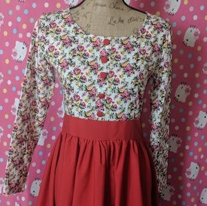 Floral Red Button Up Pin Up Dress